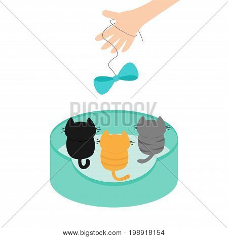 Three kittens looking up to human hand and bow on rope. Cute cartoon funny character. Animal bed. Adopt me. Helping hands concept. Love card Flat design White background Isolated Vector illustration