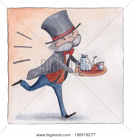 Old English butler in livery hurrying to serve five o-clock tea, postcard, greeting card design, watercolor illustration. Five o-clock tea, funny English butler running with teapot and cup