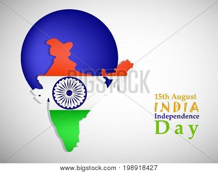 illustration of 15th August India Independence Day text with map in India flag background and button on the occasion of India Independence Day