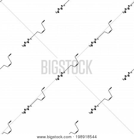 Fishing ice screw icon in black design isolated on white background. Fishing symbol stock vector illustration.