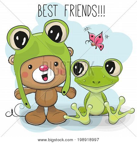 Cute Cartoon Teddy Bear in a frog hat and frog