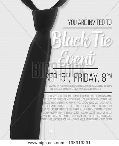 Illustration of Realistic Vector White Shirt. Black Tie Event Invitation Template. Vector Mens Shirt with Black Tie