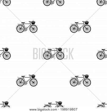 Pink bicycle with basket icon in black design isolated on white background. France country symbol stock vector illustration.