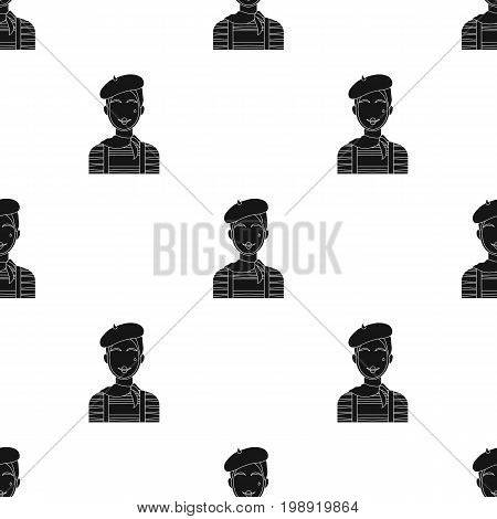 French mime icon in black design isolated on white background. France country symbol stock vector illustration.
