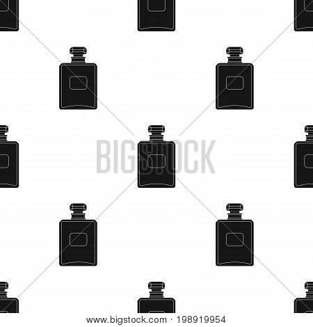 Bottle of french perfume icon in black design isolated on white background. France country symbol stock vector illustration.
