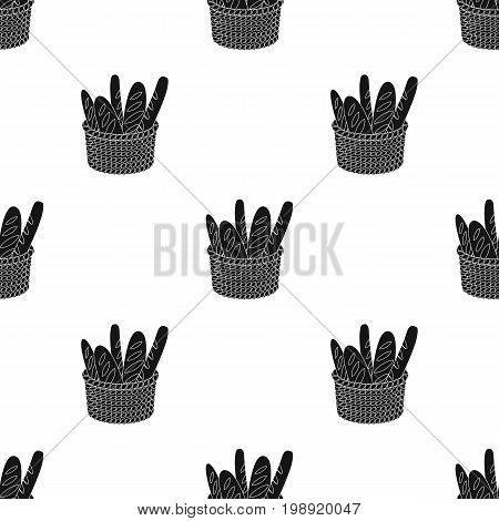 Basket of baguette icon in black design isolated on white background. France country symbol stock vector illustration.
