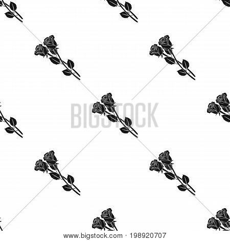 Two roses icon in black design isolated on white background. Funeral ceremony symbol stock vector illustration.