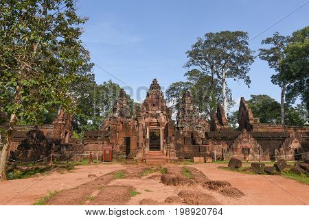 Banteay Srei temple Khmer architecture in siem reap .Banteay Srei is one of the most popular ancient temples in Siem Reap Banteay Srei known for its beautiful carvings on red sandstone Cambodia