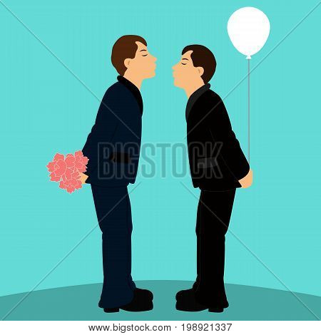 Cartoon gay couple in wedding suits. Grooms. Kiss. Flat design. Vector illustration