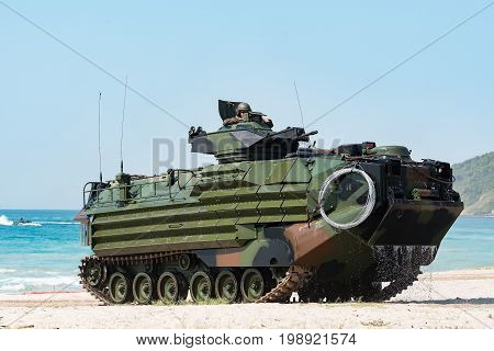 Heavy artillery tank on military at war