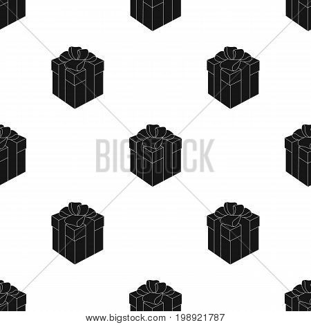 Red box in white peas. Wrapped in a rope with a bow.Gifts and Certificates single icon in black style vector symbol stock web illustration.