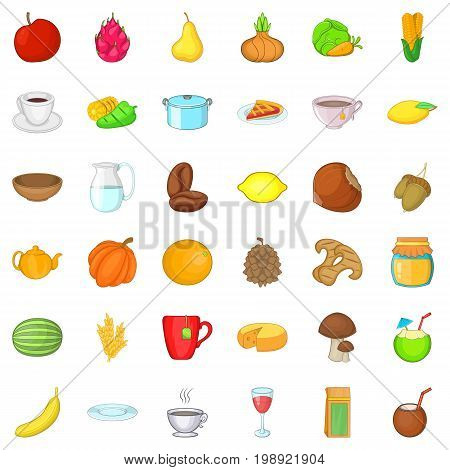 Vegetarian dish icons set. Cartoon style of 36 vegetarian dish ector icons for web isolated on white background