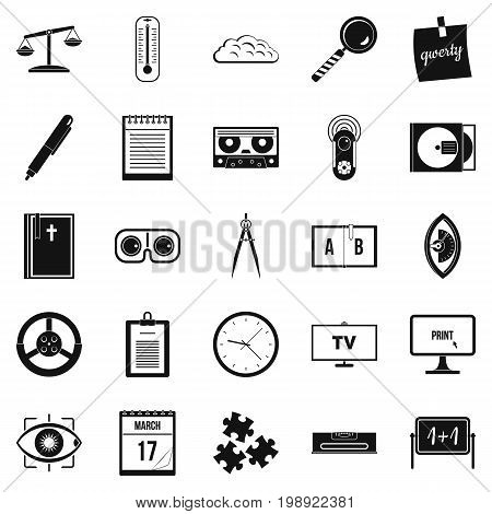Obtaining knowledge icons set. Simple set of 25 obtaining knowledge vector icons for web isolated on white background