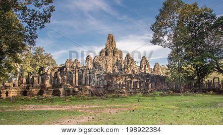 Bayon temple. the ancient stone temple. Bayon is one of the UNESCO world heritage at AnPrasat Bayon temple Angkor Thom is popular tourist attraction in Siem reap Cambodiagkor in Cambodia