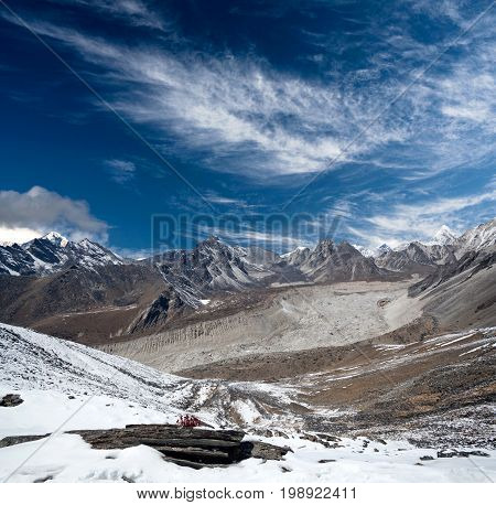 Panorama of Himalayan mountain landscape in Sagarmatha National Park - view from Chhukhung Ri in Everest Region Nepal Himalayas