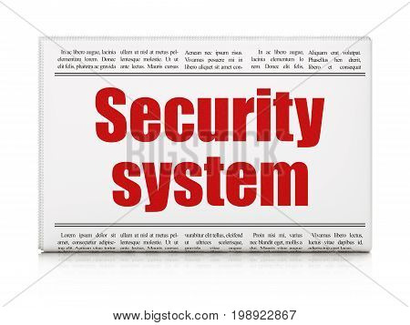 Safety concept: newspaper headline Security System on White background, 3D rendering