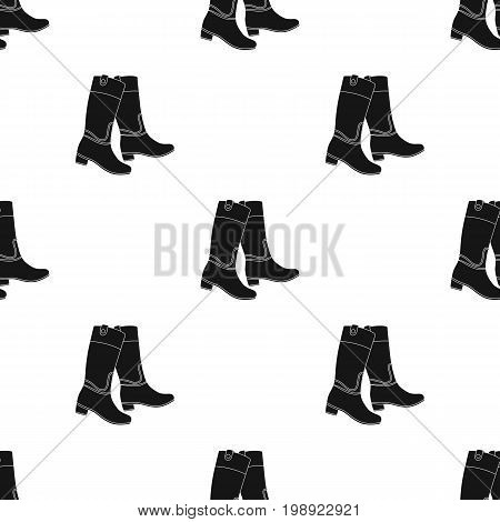 Jockey's high boots icon in black design isolated on white background. Hippodrome and horse symbol stock vector illustration.
