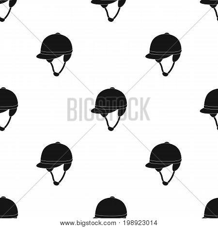 Jockey's helmet icon in black design isolated on white background. Hippodrome and horse symbol stock vector illustration.