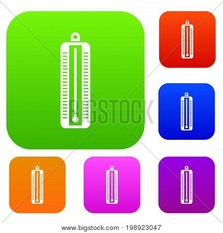 Thermometer indicates low temperature set icon in different colors isolated vector illustration. Premium collection