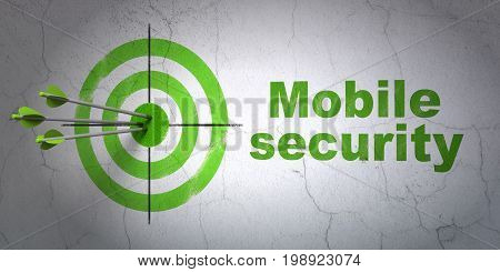 Success protection concept: arrows hitting the center of target, Green Mobile Security on wall background, 3D rendering