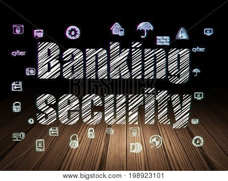 Privacy concept: Glowing text Banking Security,  Hand Drawn Security Icons in grunge dark room with Wooden Floor, black background