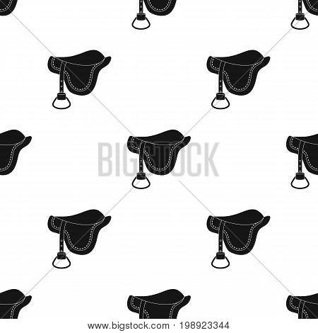 Saddle icon in black design isolated on white background. Hippodrome and horse symbol stock vector illustration.