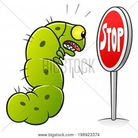 Stop pest illustration with a funny cartoon caterpillar. Cartoon pest series.