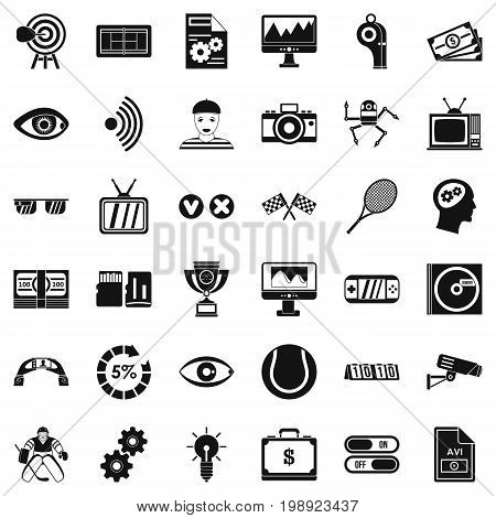 Video format icons set. Simple style of 36 video format vector icons for web isolated on white background
