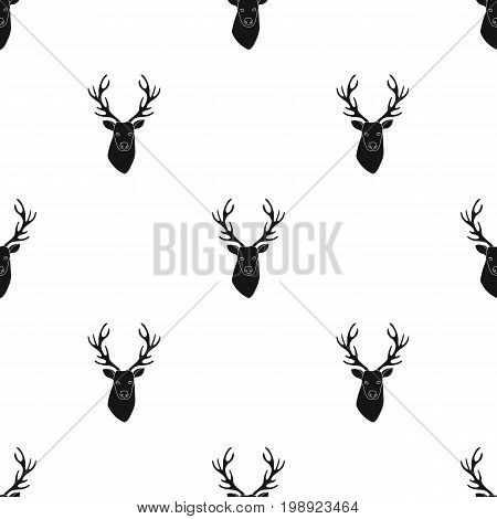 Deer head icon in black design isolated on white background. Hipster style symbol stock vector illustration.
