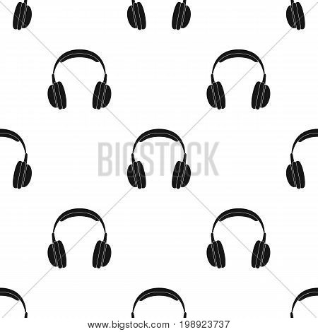 Vintage headphones icon in black design isolated on white background. Hipster style symbol stock vector illustration.