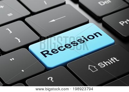 Finance concept: computer keyboard with word Recession, selected focus on enter button background, 3D rendering