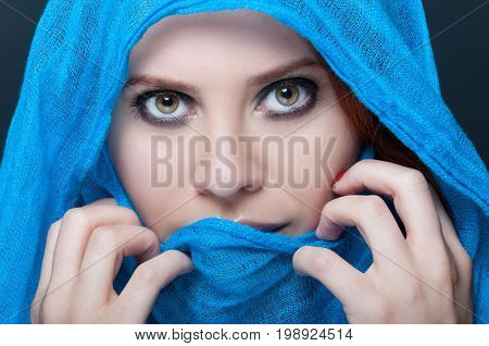 Glamour Female Model With Headscarf