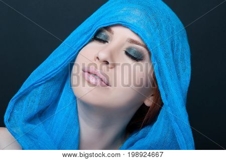 Fashionable Portrait Of A Girl Model With Scarf