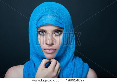 Stylish Woman With Smooth Skin Posing With Burka