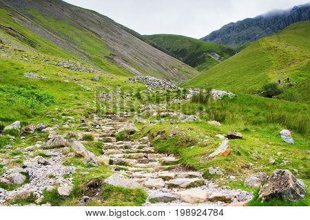 Path to Scafell Pike, view of the mountains, stream, Lake District, England, selective focus
