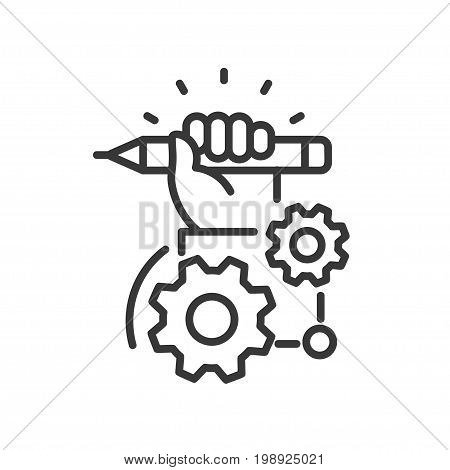 Project Development - modern vector single line design icon. An image depicting a hand holding a blue pencil, two gears of different size on a white background. Use it for your presentation.