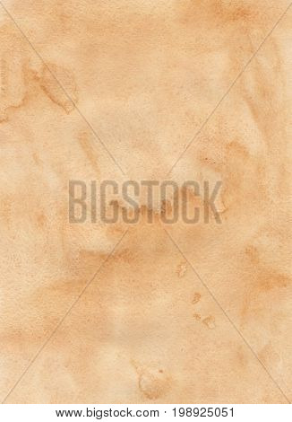 ocher watercolor painted paper texture, colorful background for your design.