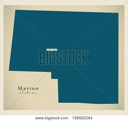 Modern Map - Marion Alabama County Usa Illustration