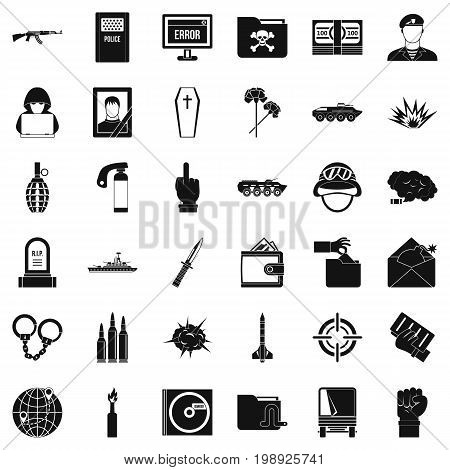 Cold war icons set. Simple style of 36 cold war vector icons for web isolated on white background