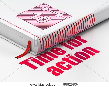 Time concept: closed book with Red Calendar icon and text Time For Action on floor, white background, 3D rendering