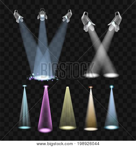 Spotlight Effects - realistic modern vector set of different projector lights. Black background. High quality clip art collection of colorful lamps to make a performance great.
