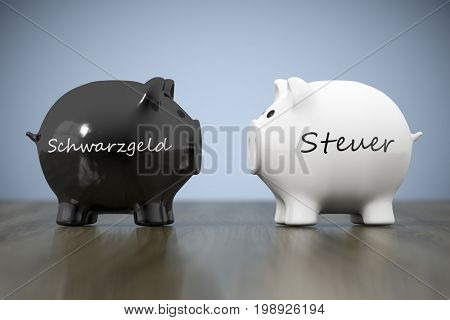 3d rendering of a piggy bank with the word precaution in german language