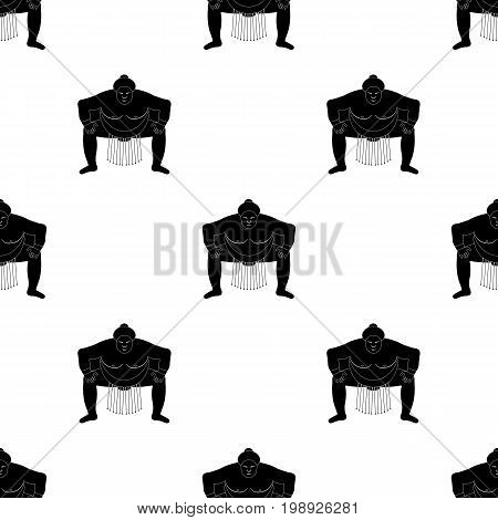 Sumo wrestler icon in black style isolated on white background. Japan symbol vector illustration.