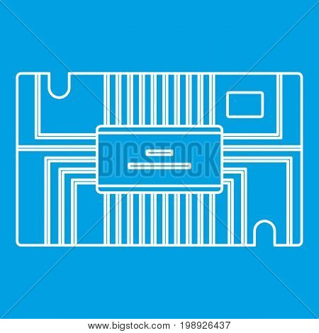 Microchip icon blue outline style isolated vector illustration. Thin line sign