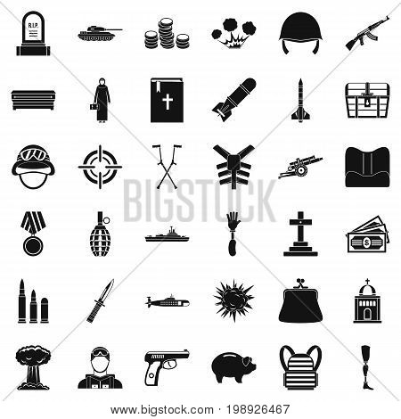 War offence icons set. Simple style of 36 war offence vector icons for web isolated on white background