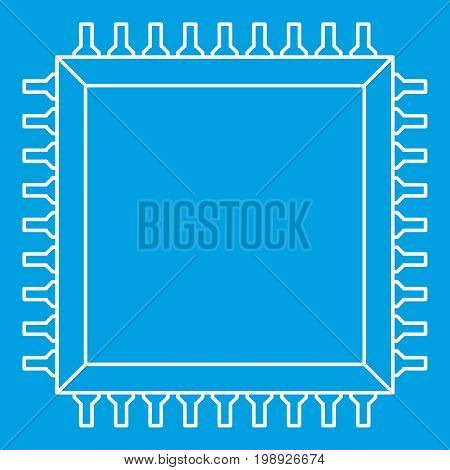 Computer microchip icon blue outline style isolated vector illustration. Thin line sign