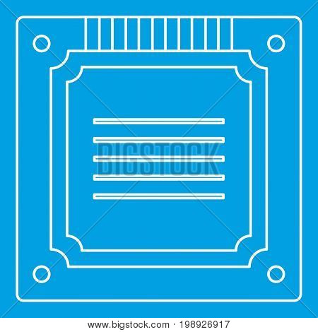 Modern multicore CPU icon blue outline style isolated vector illustration. Thin line sign