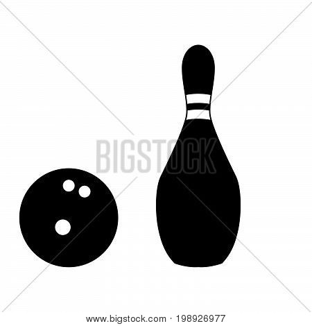 Pin And Bowling Ball Black Color Icon .