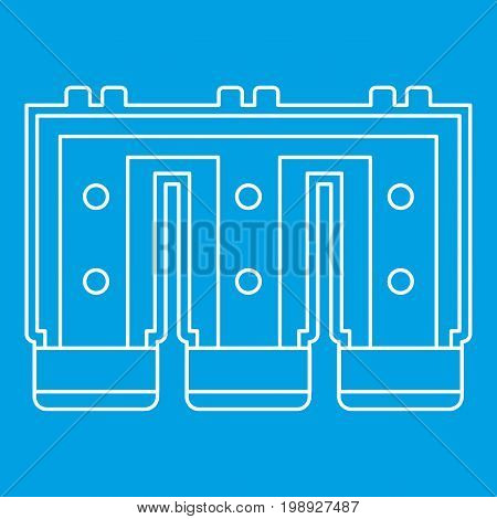 Electronic circuit board icon blue outline style isolated vector illustration. Thin line sign