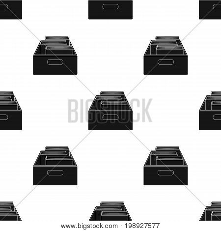 Books in box icon in black design isolated on white background. Library and bookstore symbol stock vector illustration.